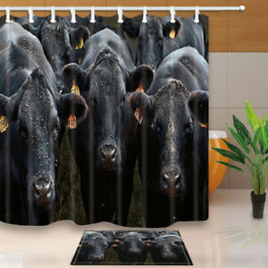 Image Is Loading American Black Cow Farm Animal Bathroom Waterproof Fabric