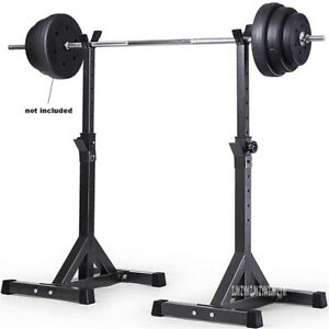 Fully Adjustable Squat Rack Stands Crossfit Weight Lifting Training Bench Press Ebay