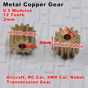 Metal  0.5 Modulus 12 teeth 2mmCopper Gear HM RC Car 4WD Robot Transmission Gear