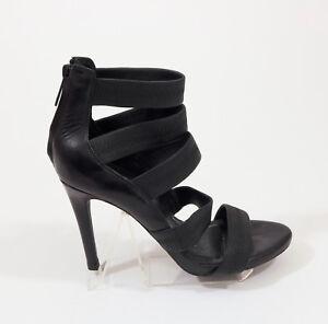 Joie Black Leather Zipper Back Stilettos US 6.5