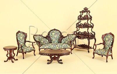 "Dollhouse Miniature BESPAQ ""CATERINA"" Parlor Set LIVING ROOM BEDROOM DEN LIBRARY"