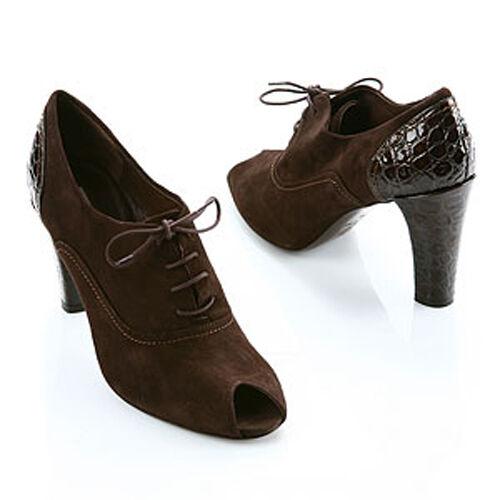 vendita online sconto prezzo basso Via Spiga Spiga Spiga Marrone Suede Croco VARIAN Peep scarpe 7.5M NIB  la vostra soddisfazione è il nostro obiettivo