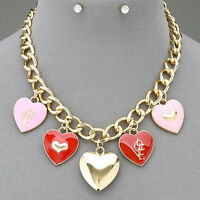 Gold Chain Pink Red Hanging Pendant Necklace With Clear Stone Stud Earrings