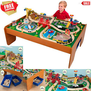 Kidkraft 100 Piece Wooden Train Table Set Thomas Friends Railway
