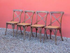 Dettagli su Lotto di quattro sedie stile Thonet con schienale 'intrecciato', H 90 cm!