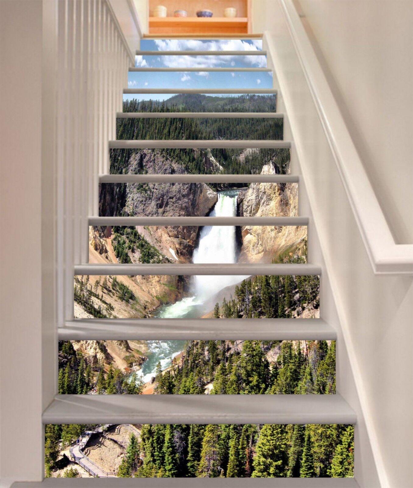 3D Hills Waterfall Stair Risers Decoration Photo Mural Vinyl Decal Wallpaper UK