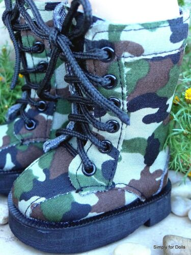 "**SALE** GREEN Canvas Tall Camo DOLL BOOTS SHOES fits 18/"" AMERICAN GIRL DOLL"