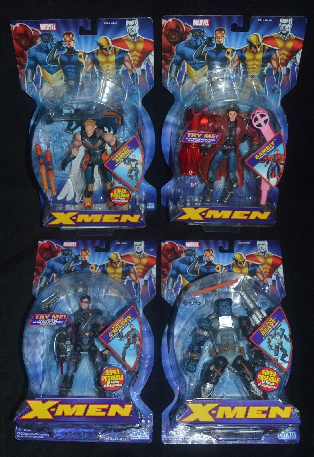 ANGEL, GAMBIT, CYCLOPS & BEAST X-MEN Marvel Classics Toy Biz MIP