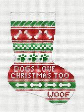 *NEW* DOGS LOVE CHRISTMAS Mini Stocking HP Needlepoint Canvas Needle Crossings