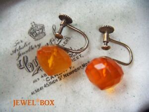 ART-DECO-935-STERLING-SILVER-NATURAL-FACETED-BALTIC-AMBER-SCREW-VINTAGE-EARRINGS