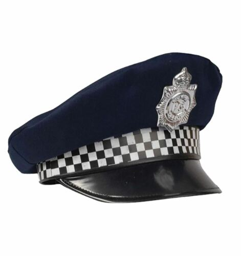 Adult Policeman Cap Mens Officer Cop Stag Night Fancy Dress Costume Accessories