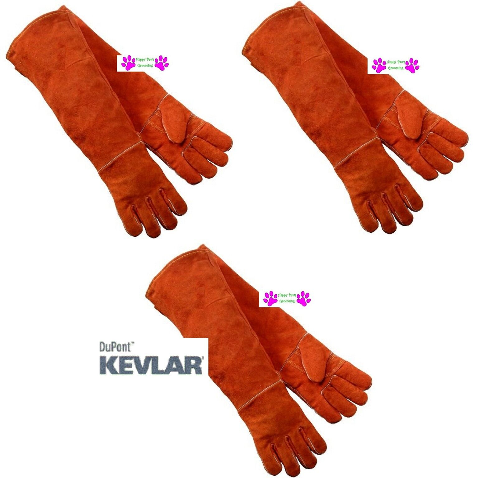 3 PAIR LONG ARM PET DOG CAT REPTILE LEATHER with Kevlar Animal Handling G s