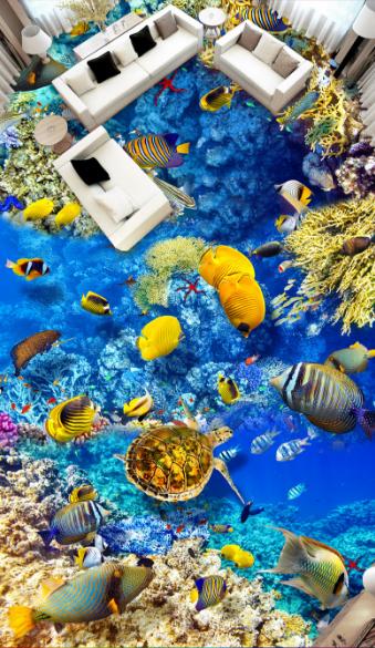 3D Gelb Fish Sea 4 Floor WallPaper Murals Wall Print 5D AJ WALLPAPER UK Lemon
