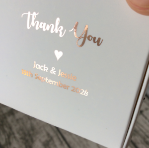 Details About 20x White Paper Boxes Rose Gold Foil Text Wedding Favour Personalized Gift Boxes
