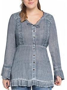 di Browns e Plus con 32 16 Camicia Size blu Top bottoni grigi scuro bottoni Joe TqBvFHBwa