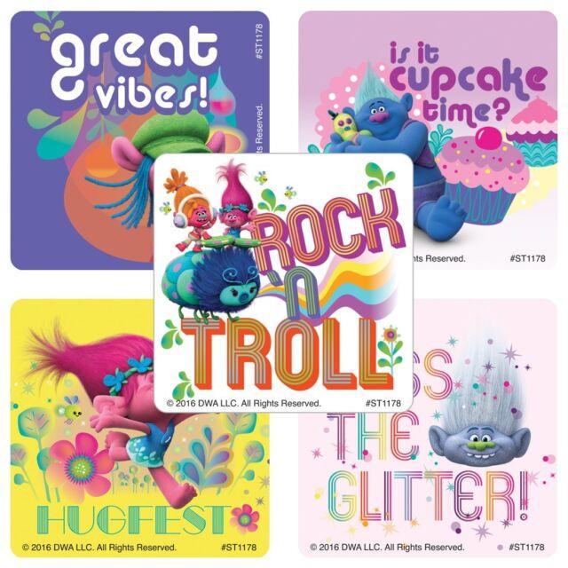 25 Trolls Movie GLITTER STICKERS Party Favor Teacher Supplies Treat Bag Birthday