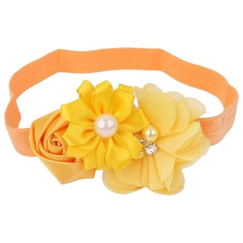 5X Kind NäHen Perle Blume Stirnband J4U1 Gelb