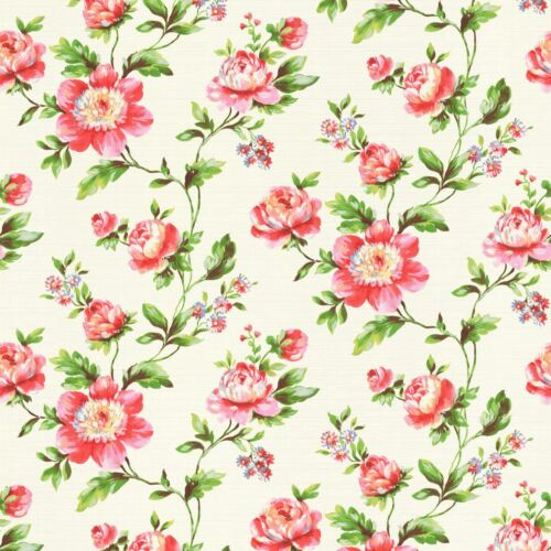 WHITE 442205 /& TEAL 442229 RASCH SHABBY CHIC ROSE FLORAL WALLPAPER TEXTURED
