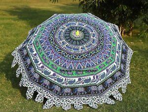 Elefant-Mandala-Rund-Garten-Sonnenschirm-Regenschirm-Terrassen-Aussen-Indisch