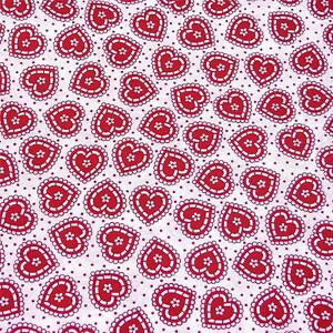 Sweet Red & White Hearts on White  With Tiny Red Polka Dots Cotton Fabric Per FQ