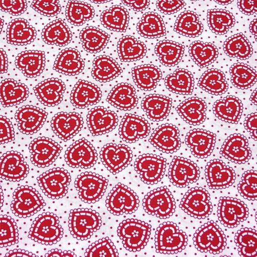 Sweet Red /& White Hearts on White  With Tiny Red Polka Dots Cotton Fabric Per FQ