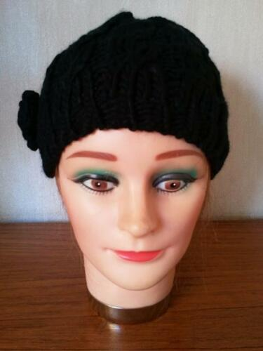 LADIES GIRLS BLACK CABLE KNIT CHUNKY BEANIE HAT One Size Fits All