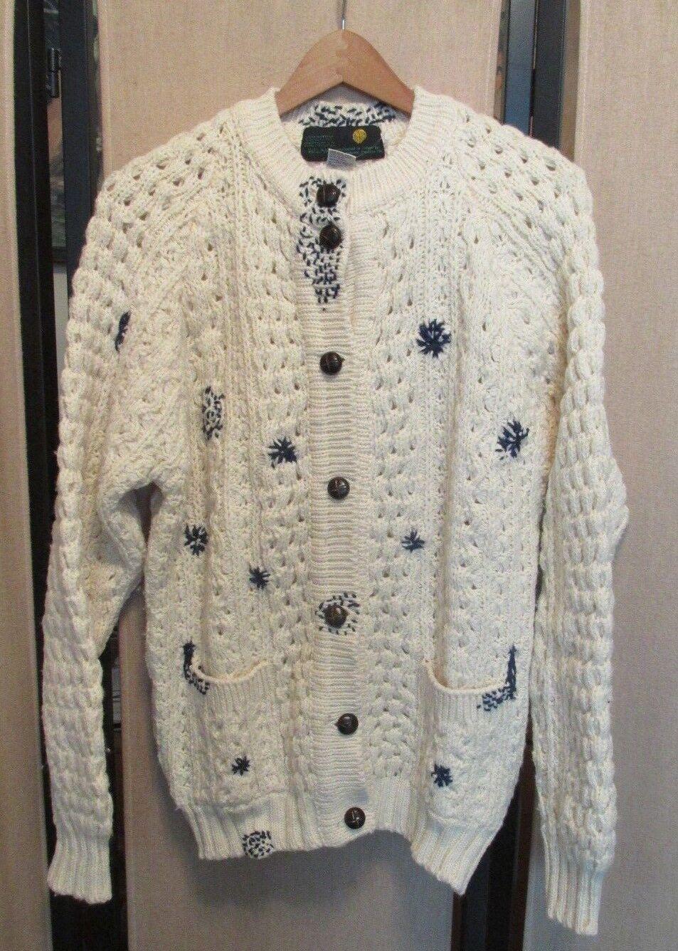 Country Knitwear Irish Wool Cardigan Sweater Cable Knit Fishermen
