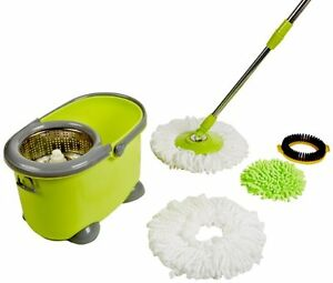 Magic Mop 360 Rotate Spin Mop Bucket W Microfiber Heads