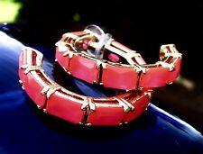"""Kate Spade New York """"Jewel Blocks"""" BOLD Hoop Earrings NEON FLO PINK GLOWING"""