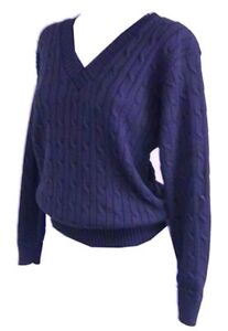 New-Womens-ladies-knitted-navy-cable-knit-v-neck-jumper-top-size-8-18
