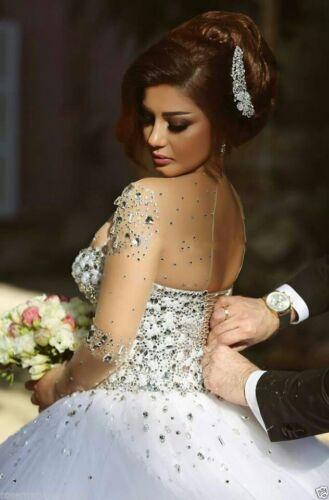 2019 New White Gorgeous Princess Wedding Dress Bridal Ball Gown Size:6-16