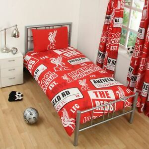 Liverpool-Fc-039-Empiecement-039-Housse-Couette-Simple-Set-Official-Football-Literie