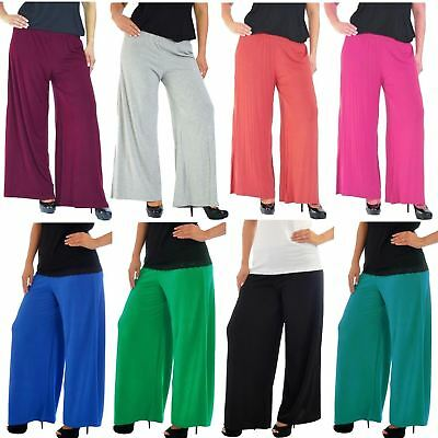 NEW WOMENS PLUS SIZE PALAZZO TROUSERS LADIES BAGGY WIDE LEG STRETCH PANTS 12-26