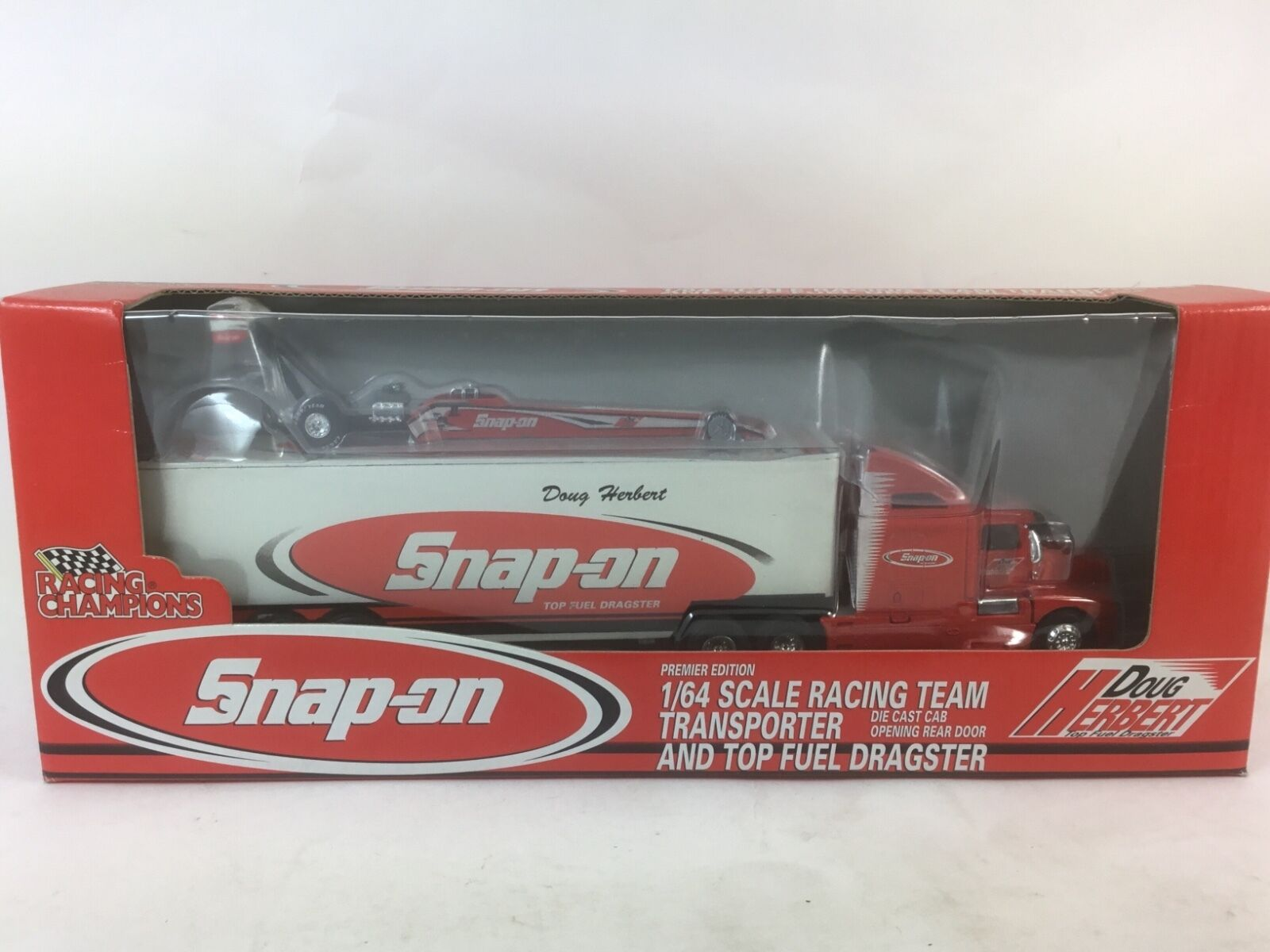 '98 RACING CHAMPS PREM ED SNAP-ON 1 64 DOUG HERBERT TRANSP+ DRAGSTER DIECAST