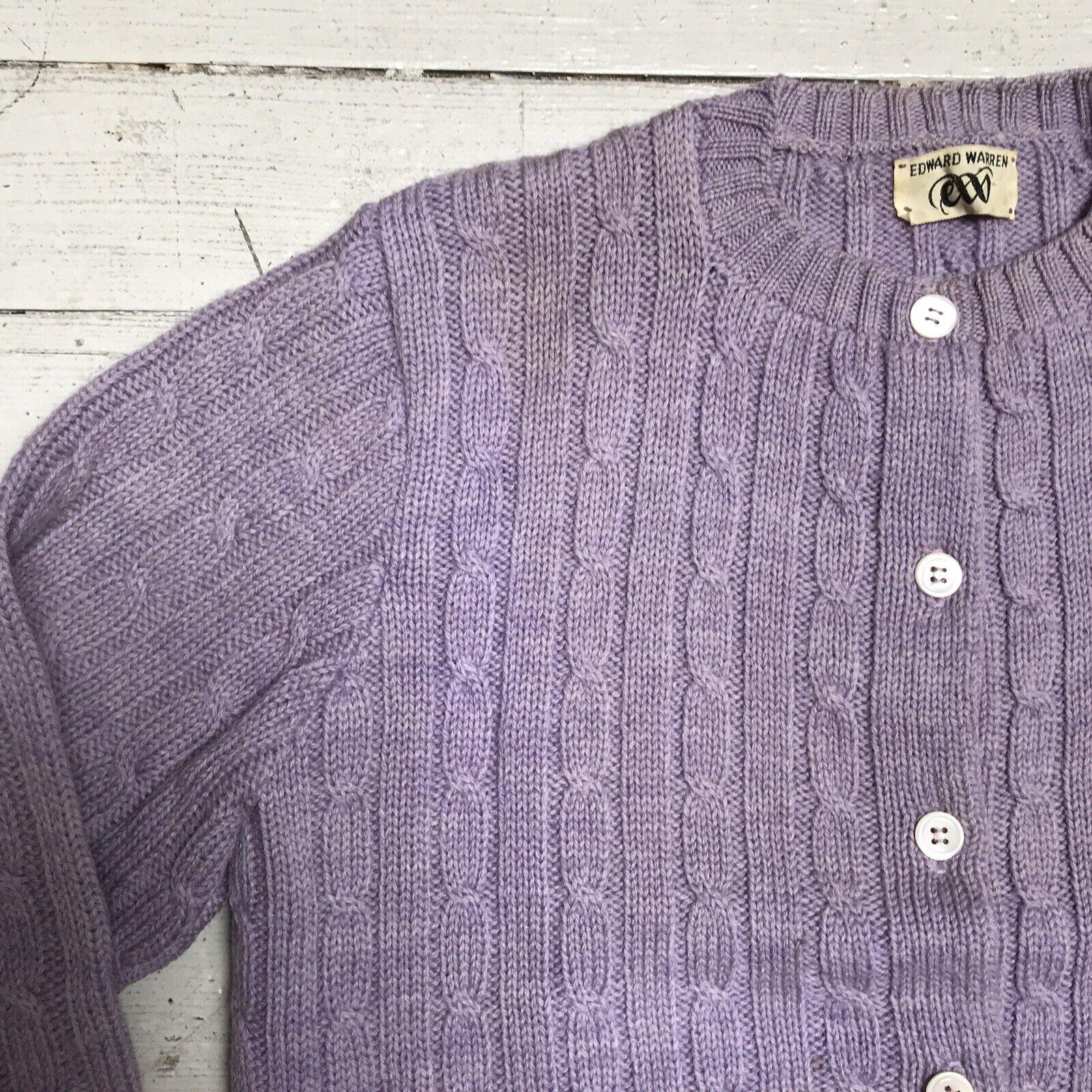 VTG EDWARD WARREN Light Purple Lilac Cable Knit S… - image 4
