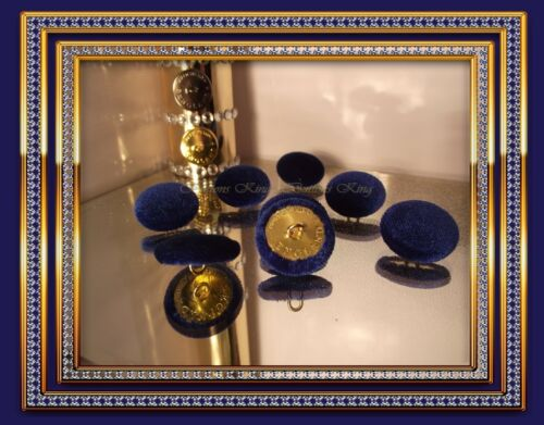 25mm Buttons King England Metal color Gold Velvet fabric Deep Blue Size 15mm