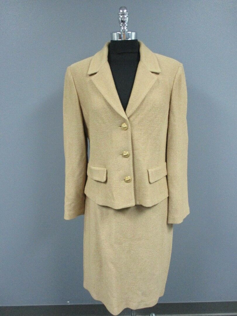ST. JOHN Tan Long Sleeves Blazer Knee Length Casual Skirt Suit Sz 12 10 DD3049