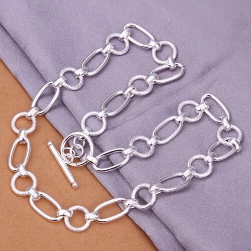 oval 10 mm 45cm PL Señora collar cadena de anclaje alrededor de con plata Sterling