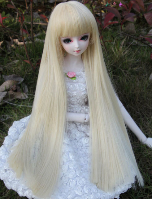 """1//3 8-9/"""" BJD DOLL WIG SD BLOND PINK CURLY LONG BANGS PIGTAILS DOLLFIE JR61 USA"""