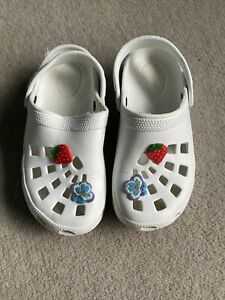 Girls White Croc Type Shoes Slip On