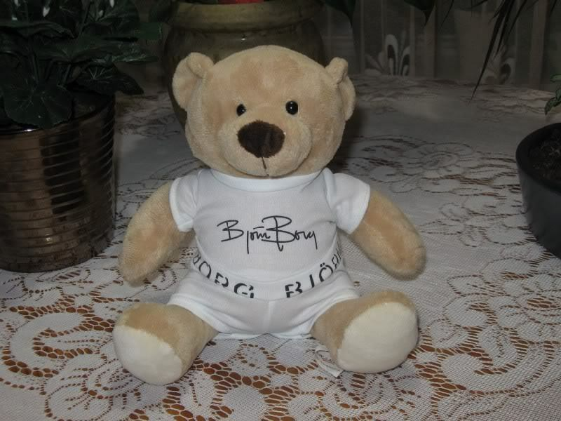 UK Bjorn Borg 11 Inch Signed Teddy Bear Plush Rare Collectible