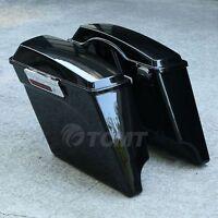 5 Vivid Black Stretched Extended Hard Saddlebags For Harley Touring Models Flt