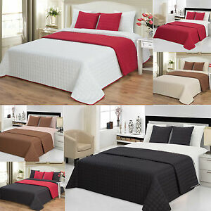 tagesdecke bett berwurf 220 x 240 cm bettdecke steppdecke zweiseitige ebay. Black Bedroom Furniture Sets. Home Design Ideas