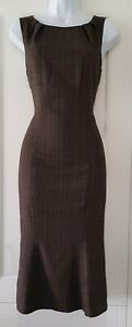Womens-Lk-Bennett-Brown-Check-Plaid-Tweed-Pure-Wool-Fishtail-Pencil-Dress-6
