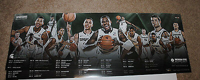 2014 15 Michigan State Spartans Mens Basketball Schedule Poster Izzo Final Four Ebay