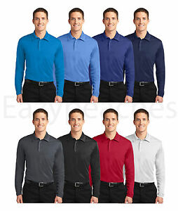 Port-Authority-Silk-Touch-Dri-Fit-Long-Sleeve-Polo-Shirts-NEW-S-4XL-GOLF-SPORT