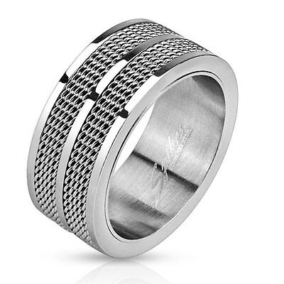 Double wedding bands collection on ebay stainless steel double line mesh screen mens ring wedding band 9mm width junglespirit Images