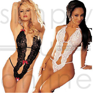 042113d48a Ladies Sexy Sheer Lace Lingerie Teddy One Piece Thong Bodysuit - One ...