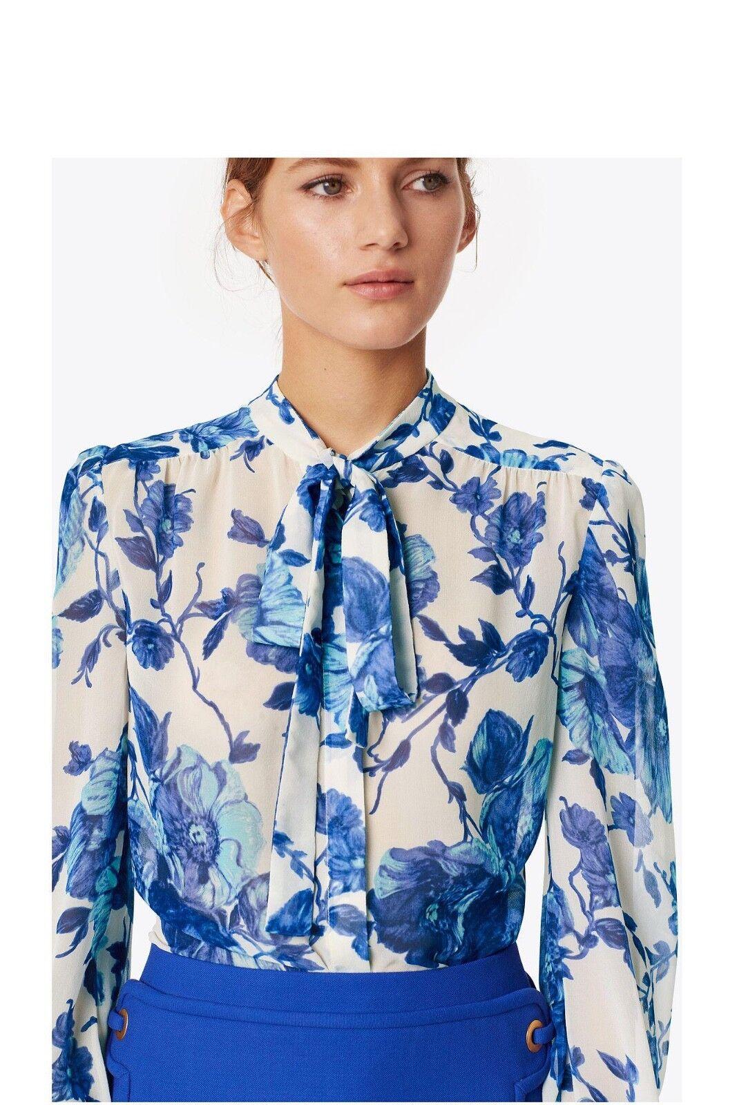 Tory Burch 12 Kia Bow Blouse Shirt M L Rosamont Floral Fall 2017 Garden Party XL