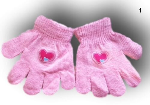 Girls Children Kids Winter Autumn Gloves Black Grey Pink Size 3-7 Years